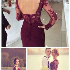 2016 elegant prom dress burgundy evening dresses mermaid backless long sleeves lace party gowns sexy formal gown