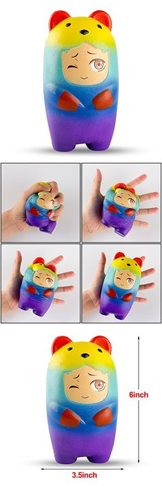 BeYumi Colorful Slow Rising Toy, 1 Pack of Rainbow Bear Squishy Cream Scented Bread Decompression Squeeze Toys for Collection Gift, decorative props Large or Stress Relief