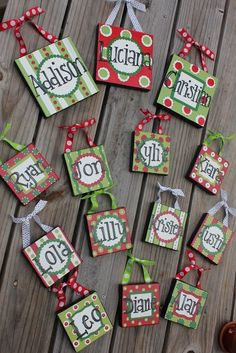 From:The Peanut Paintshop  We made some canvas ornaments last year for parent gifts.  Like these ideas too.  They also have lots of other great canvas ideas on this site.