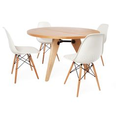 Prouve Gueridon Light Round Table & 4 DSW Chairs > Prouve Sets > Dining Sets > Dining | Vertigo Interiors
