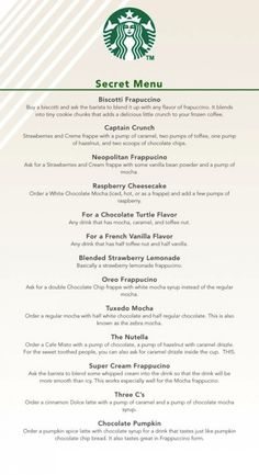 #Starbucks Secret Menu! (Check out The Nutella and die happy.)