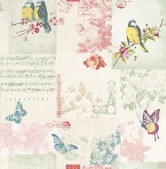 Songbird (11260) - Albany Wallpapers - A romantic shabby chic patchwork design with Songbirds, music sheets and butterflies. Shown here on a pale duck egg blue - more colours are available. Please request a sample for true colour match.