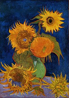 Sunflowers (original title, in French: Tournesols) are the subject of two series of still life paintings by the Dutch painter Vincent van Gogh*. The earlier series, executed in Paris in 1887, depicts the flowers lying on the ground, while the second set, executed a year later in Arles, shows bouquets of sunflowers in a vase. In the artist's mind both sets were linked by the name of his friend Paul Gauguin, who acquired two of the Paris versions.