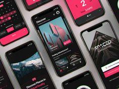 InVision Studio - Spaced Source Files by Joshua Oluwagbemiga for InVision on Dribbble Mobile Ui Design, Ui Ux Design, Ad Design, Layout Design, Black App, Pink Mobile, Iphone App Design, App Design Inspiration, Design Ideas