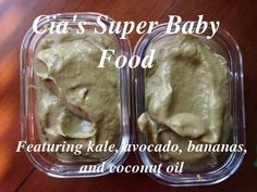 Super Baby Food: Kale, avocado, banana, and coconut oil. Avocado Baby Food, Banana Baby Food, Toddler Meals, Kids Meals, Baptism Desserts, Baby Weaning, Led Weaning, Milk Allergy, Vegan Baby
