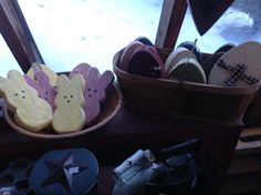 Wood eggs and peeps