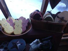 Wood eggs and peeps