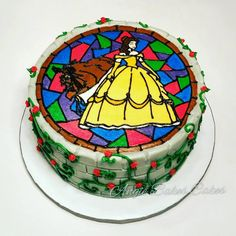 Beauty and the Beast stained glass All buttercream decorations