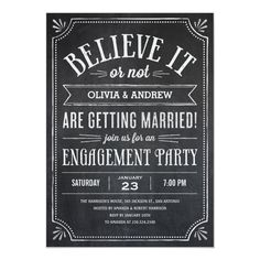 Believe It or Not Engagement Party Invitations - tap/click to personalize and buy  #engagement #party #invitations #engagement #invitations 60th Birthday Party Invitations, Surprise Birthday Invitations, Birthday Cards, Birthday Gifts, Surprise 30th Birthday, Adult Birthday Party, 50th Birthday, Birthday Celebration, Birthday Ideas