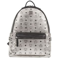 MCM Stark Backpack Medium Silver in silver, Shoulder Bags ($920) ❤ liked on Polyvore featuring bags, backpacks, silver, logo backpacks, silver shoulder bag, mcm backpack, padded backpack and shoulder bag backpack