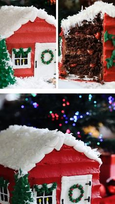 This fun, festive, and delicious Santa's House Cake recipe will be your favorite holiday cake! It can be easily customized according to your liking. Save this flavorful and moist Christmas dessert recipe for later! Christmas Deserts, Christmas Gingerbread House, Christmas Cupcakes, Holiday Desserts, Holiday Baking, Christmas Cake Designs, Christmas Cake Decorations, House Cake, Cake Decorating Videos