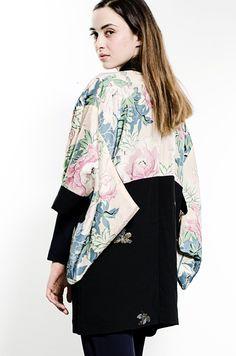 Reversible Pure Silk Cropped Kimono Jacket