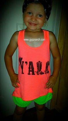 Kids Y'all Tank Top Neon Orange www.gypzranch.com