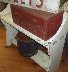 Wonderful Old Primitive 2 Drawer Chest Apothecary Chest Great Old Paint Nr