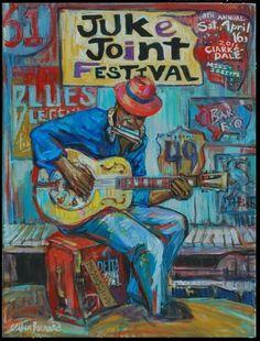 Juke Joint Festival Poster ~ by Cristen Barnard Jazz Poster, Blue Poster, Poster Art, Rock Posters, Festival Posters, Concert Posters, Music Artwork, Art Music, African American Art