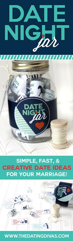 I need a Date Night Jar!! It's hard to come up with fun dates on my own. I can't wait!! Perfect Valentine's Gift idea too! (Printables created by www.cutifycreative.com)