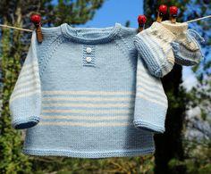 layette ensemble mérinos naissance-1 mois brassière et chaussons neuf tricoté main : Mode Bébé par com3pom