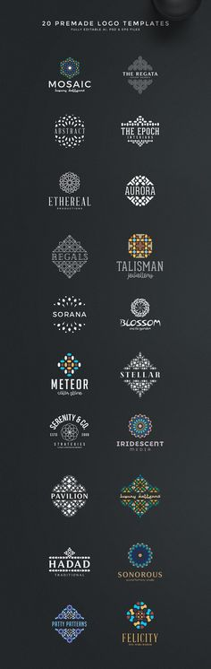 Geometric Logo Creation Kit - we are happy to present the newest logo kit featuring over 180 elements, 35 premade logos and a lot of styles, swatches and jpg gold textures! By Zeppelin Graphics $15 #brand #identity #gold #graphic #templates #affiliatelink