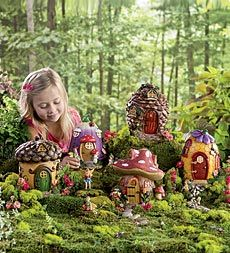Walking through the forest, we stumbled across a wondrous fairy village. Designed with five different nature themes (Acorn, Pinecone, Mushroom, Honeycomb and Tulip), each of our Fairy Houses incorporates 360° of intricate woodland details. Great for outdoor use, the houses are fully enclosed to keep out little unwanted critters.  Fairy Village Special Save $60.86 when you buy the set of 5 Fairy Houses and both Fairy Sets together. Only $99.00