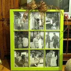 Photo frame made from an old window pane