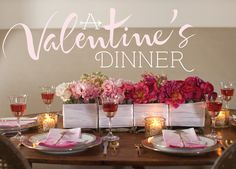 Celebrate Magazine - A beautiful ombre-themed table for an elegant Valentine's Dinner.  Directions and printables are included.