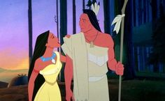 """Pocahontas and her father, Chief Powhatan from """"Pocahontas."""""""