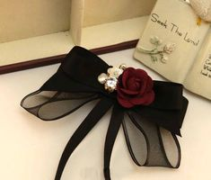 Womens bow tieBow broochBrooch Black luxury bow tie gift for woman Handmade bowtie Bow brooch Brooch bow tie Pussy bow Gifts For Girls, Gifts For Women, Women Bow Tie, Barrettes, Black Luxury, Diy Hair Bows, Diy Hair Accessories, Wedding Accessories, Ribbon Bows