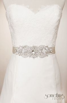 SERENA  Beaded Rhinestone Bridal Sash Wedding by SomethingIvory