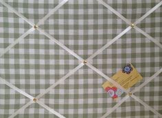 Medium Laura Ashley Heath Green Gingham Hand Crafted Fabric Notice / Pin / Memo Board £16.99
