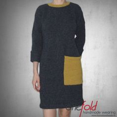 Rochie cu maneci lungi si buzunar Indigo, Knitwear, High Neck Dress, Sewing, Casual, How To Wear, Handmade, Dresses, Fashion
