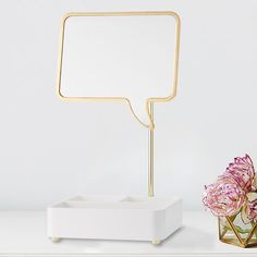 MayBaby Quote Me Beauty Storage This beauty organizer makes a superfun statement! Featuring a divided tray and a speech bubble mirror that hinges forward and back, this golden piece brings playful design to your get-ready station. Designed with DIY internet-sensation Meg DeAngelis, this MayBaby collection captures her playful style. Plus, 25% of the purchase price from the MayBaby Quote Me Mirror Beauty Storage will go directly toward Teen Cancer America.