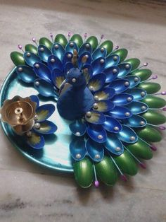 puja thali made with clay n pista shell ... ᘡղlvbᘡ༺✿ ☾♡ ♥ ♫ La-la-la Bonne vie ♪ ♥❀ ♢♦ ♡ ❊ ** Have a Nice Day! ** ❊ ღ‿ ❀♥ ~Th 5th Nov 2015 ~ ~ ❤♡༻ ☆༺❀ .•` ✿⊱ ♡༻ …