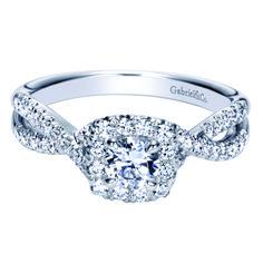 Preset 14k White Gold Round Halo Diamond Engagement Ring. $2,620