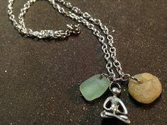 Forest green sea glass, Stone Harbor Quartz and meditation charm on Etsy, $30.00