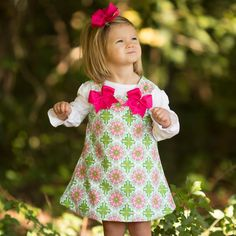 Lolly Wolly Doodle Hot Pink Lime Medallion Corduroy Aline  9/28