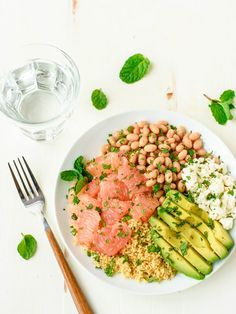 Avocado, Grapefruit and Couscous Salad With Feta and White Beans.