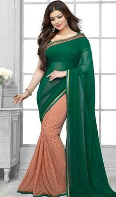 Get perfectly dolled for all occasions just like Ayesha Takia donning this green and beige color georgette half n half sari. The brilliant saree creates a dramatic canvas with remarkable resham work. Upon request we can make round front/back neck and short 6 inches sleeves regular saree blouse also.  #SuperbGreenAndBeigeShadesSari