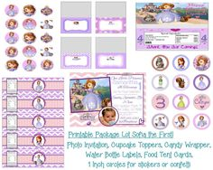 Disney Princess Sofia the First Birthday Party Printable Package Lot Invitation Favors and More on Etsy, $25.00