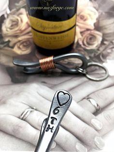 6th Year Wedding Gift - Iron Anniversary - Keychain Bottle Opener - 6 Years - For Couple - Him - Her - 6 - Sixth Wedding Themes Metal Steel