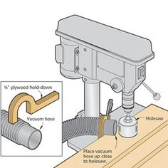 Drill press with hose connection. Make holesawing easier; vacuum sawdust away