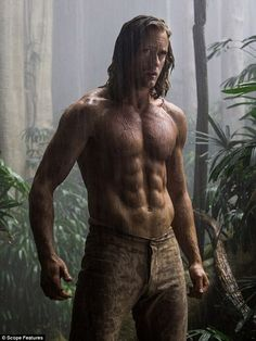 Jungle hunk: Alexander Skarsgard displays his impressive abs and muscular physique in the first look images for David Yates' The Legend Of Tarzan
