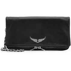 Zadig & Voltaire Leather Fold-Over Clutch (13,100 PHP) ❤ liked on Polyvore featuring bags, handbags, clutches, black, convertible clutch, shoulder handbags, genuine leather shoulder bag, fold over handbag and leather shoulder handbags