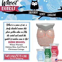 Whoot Bundle - $49 comes with Whoot Warmer and your choice of 3 Scentsy Bars. Order today at www.smellarific.com. Flyer By: Angela O'Hare