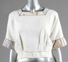 "Omega Workshop blouse, c 1914 white linen borders textile Vanessa Bell ""Maud"""