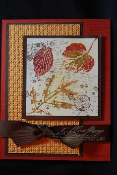 French Foliage stamp set  Early Expresso, Cajun Craze, More Mustard, Old Olive inks  Whisper White, Early Expresso, More Mustard, Cajun Craze card stock  Early Expresso ribbon, Lattice embossing folder