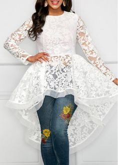 White Round Neck High Low Lace Blouse Absolutely love this! Is it too young for a 50 yr old? Stylish Tops For Girls, Trendy Tops For Women, Blouses For Women, Look 2018, White Lace Blouse, Trendy Fashion, Womens Fashion, Fashion Top, Ladies Fashion