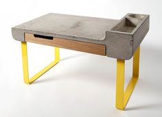 Mesa escritorio de hormigón, metal y madera   -   Concrete, metal and wood writing table