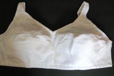 BRA 52B White Cotton Comfort Choice Sports Wire Free Bra 27-0927-7 NWOT Summer #ComfortChoice #FullCoverageBras