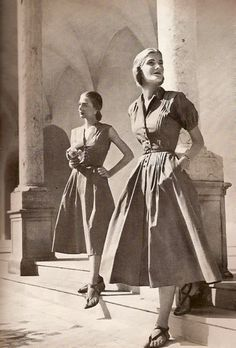 Two classically lovely short sleeved summer dresses from Harper's Bazaar, 1947. #vintage #1940s #fashion