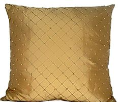 "Beaded Silk Throw Pillow - two for the bed in ""vampire"" red"